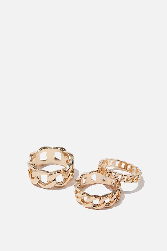 Luxe Layers Chunky Chain Ring Set, GOLD