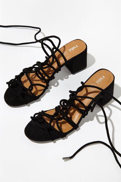 Calvin Strappy Block Heel, BLACK