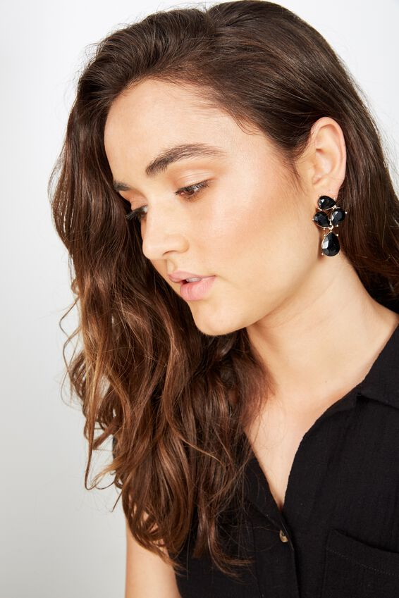 Maggie Romance Earring, BLACK