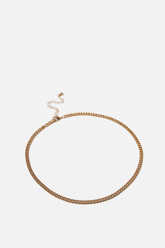Treasures Single Chain Necklace, GOLD CURB CHAIN