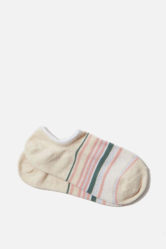 Sports Low Cut Sock, OAT SPARKLE STRIPE