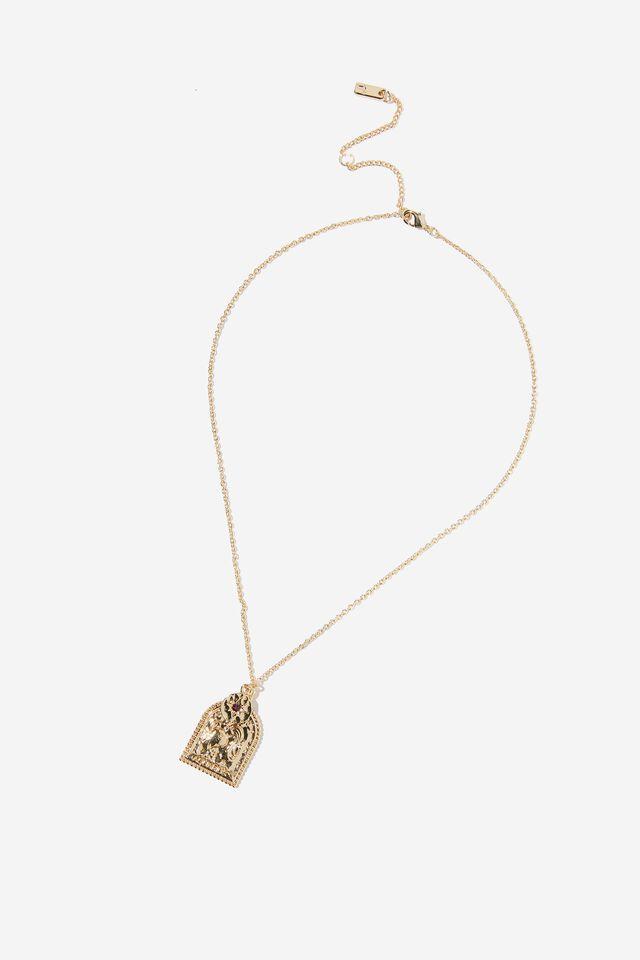 Premium Zodiac Necklace, GOLD PLATED AQUARIUS