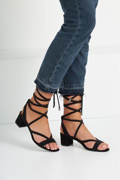 Lo Se Lace Up Heel, BLACK