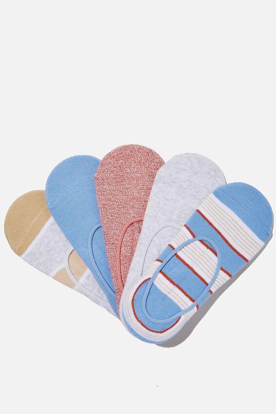 5Pk Low Cut Sock, HERON BLUE STRIPE MIX