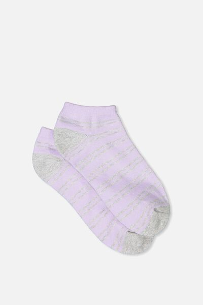 Get Shorty Ankle Sock, LILAC SPARKLE STRIPE