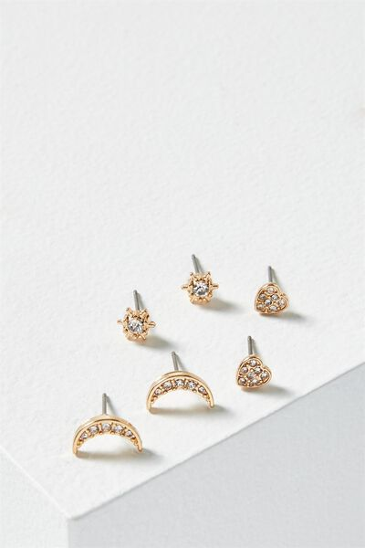 Sparkle Core Stud Pack, GOLD