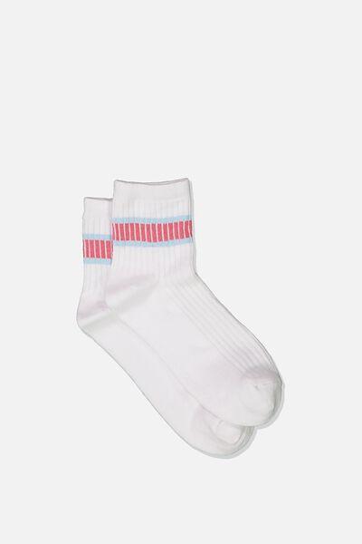 Quarter Crew Sock, WHITE/PINK SKIES STRIPE