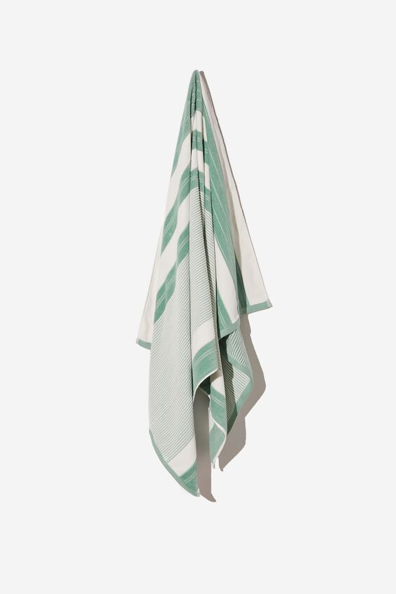 Bondi Rectangle Towel, GREEN POOLSIDE STRIPE