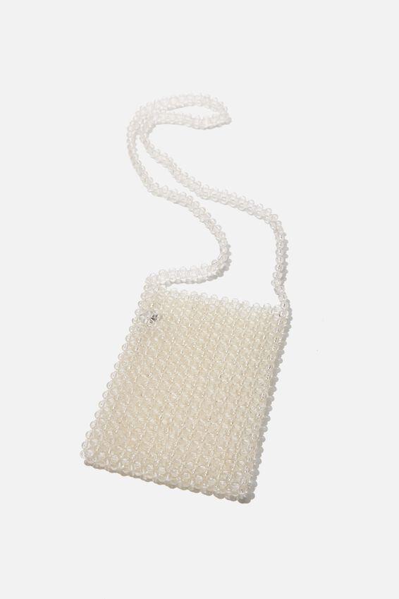Beaded Cross Body Bag, CLEAR