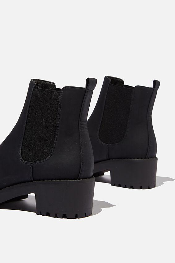 Kennedy Gusset Boot, BLACK NUBUCK