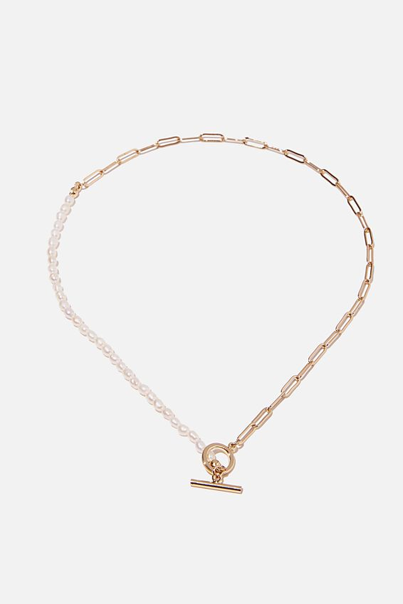 Premium Forever Necklace, GOLD PLATED PEARL OPEN LINK
