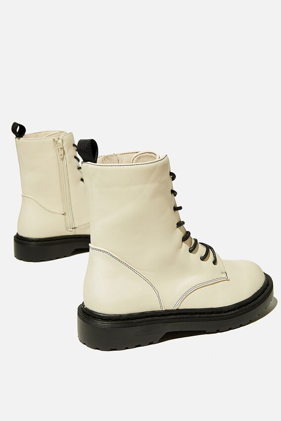 Freda Combat Lace Up Boot, ECRU SMOOTH