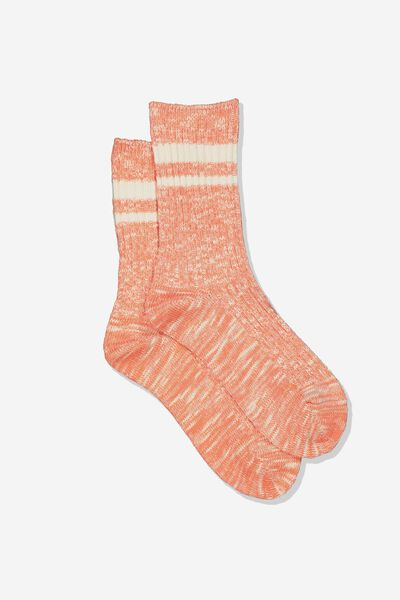 Hiking Sock, CORAL/CREAM STRIPE