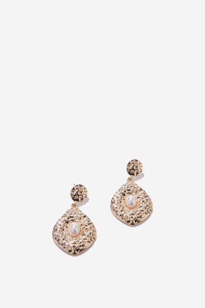 Penelope Baroque Earring, GOLD/PEARL