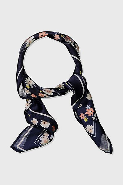 Soho Satin Scarf, BLACK BASE DITSY FLORAL