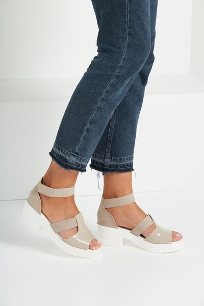 Brixton Low Heel, WHITE/TAUPE