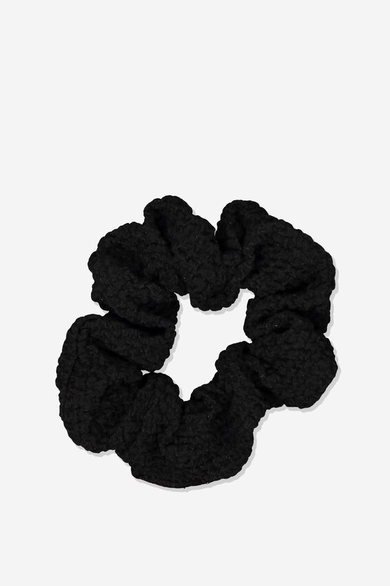 So Me Scrunchie, BLACK BUBBLE KNIT