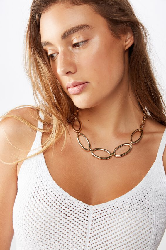 Olivia Open Link Chunky Chain Necklace, GOLD