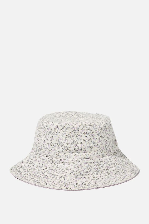 Elly Reversible Wide Brim Bucket Hat, WHITE RAMONA FLORAL