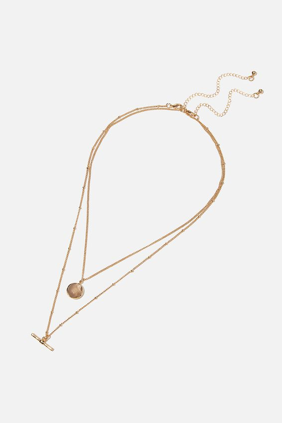 Luxe Layers Multi Necklace, GOLD SEMI PRECIOUS