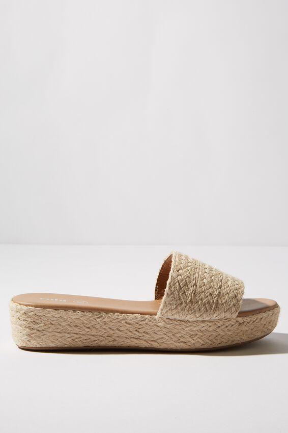 Phoebe Flatform Sandal, RAFFIA