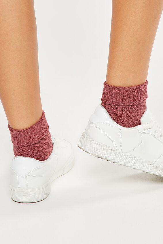 Glinda Rib Sparkle Sock, OLD ROSE SPARKLE