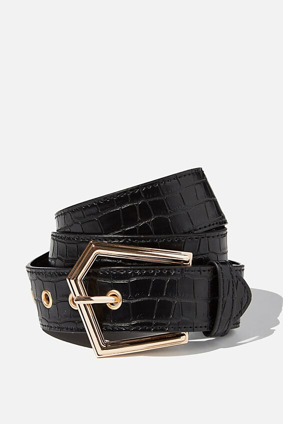 Angular Buckle Belt, BLACK