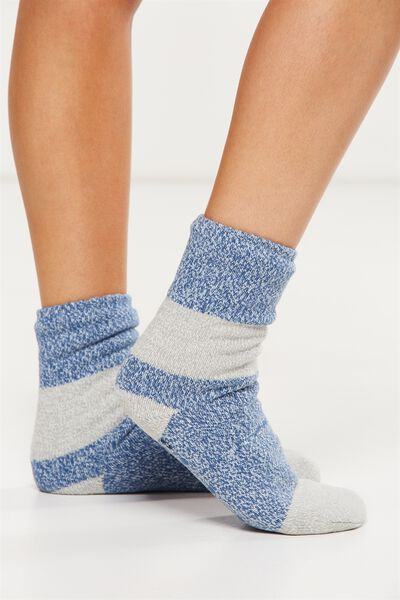 Loungin Round Sock, BLUE HUES COLOUR BLOCK