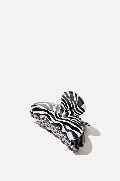 Morgan Hair Claw, ZEBRA PRINT WHITE