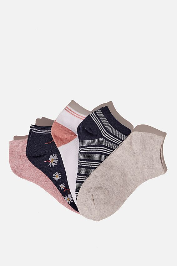 5Pk Ankle Sock, MIDNIGHT DAISY COMBO