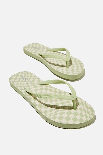 The Rubi Flip Flop, GEO CHECK SOFT GREEN ECRU
