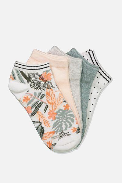 5Pk Ankle Sock, SAGE FLORAL