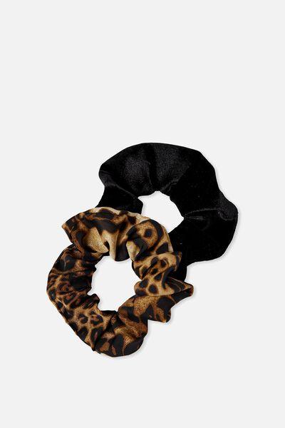2Pk Scrunchie, BLACK VELVET/LEOPARD PRINT