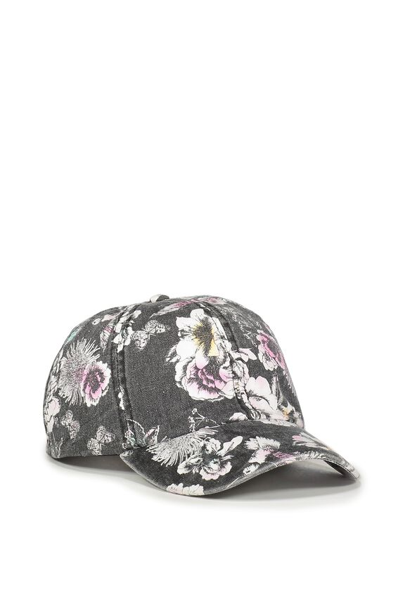 Nancy Cap, WASHED BLACK FLORAL CANVAS
