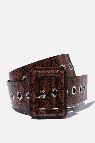 Wide Eyelet Waist Belt, BROWN SNAKE PRINT