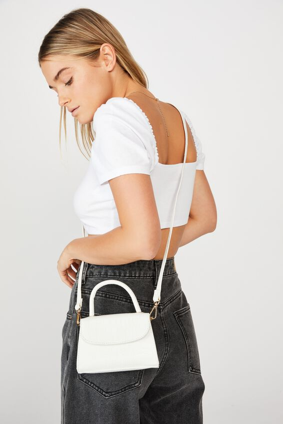 Lola Cross Body Bag, WHITE TEXTURE