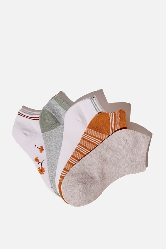5Pk Ankle Sock, BLUSH DAISY COMBO