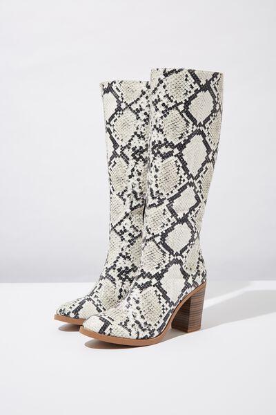 Natalie Knee High Boot, NATURAL TEXTURE PU