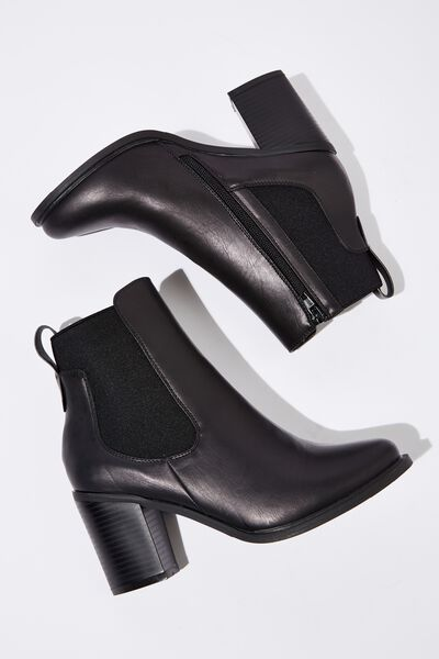 Bella Heeled Gusset Boot, BLACK SMOOTH