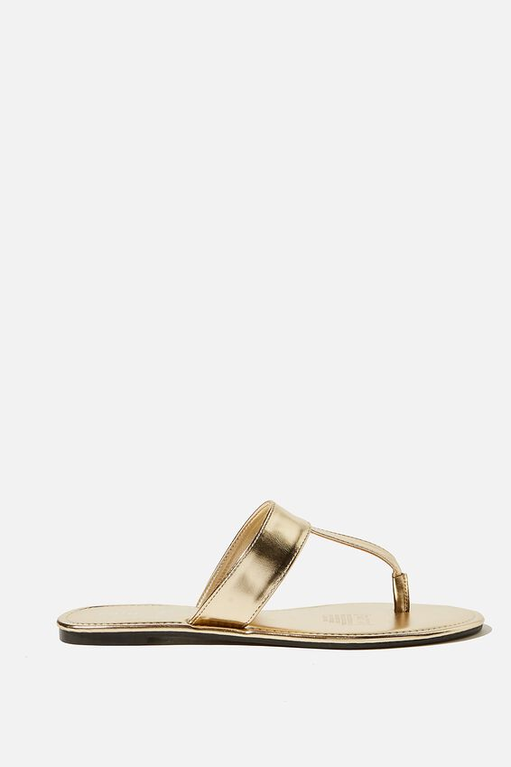 Everyday Pip Toe Post Slide, GOLD METALLIC PU