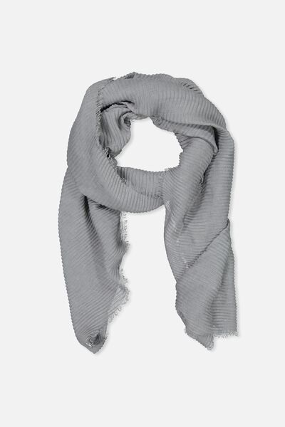 Penny Pleated Midweight Scarf, GREY PLEAT