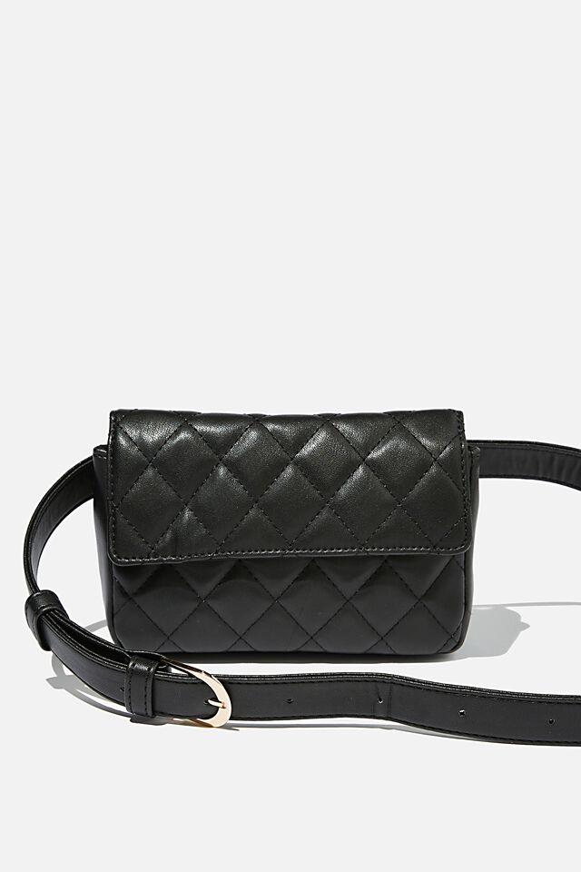 Quilted Belt Bag, BLACK