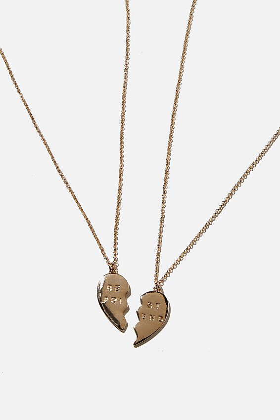 Bff Necklace Set, GOLD ENGRAVED HEART