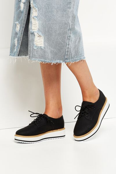 Alba Oxford Wedge Lace Up, BLACK TEXTURE PU