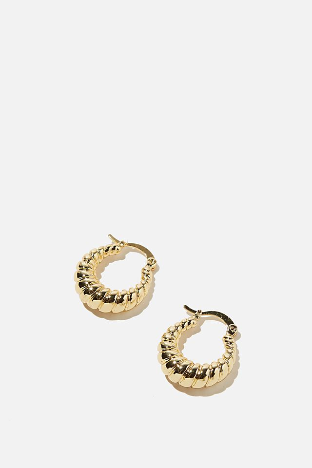 Premium Everyday Hoop, GOLD PLATED FRENCHY