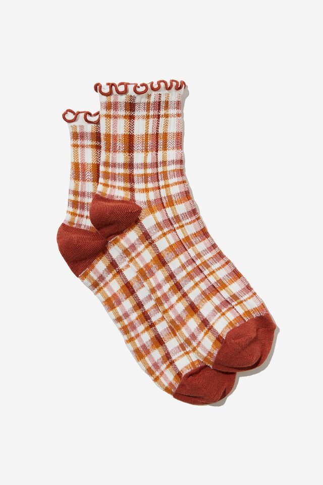 Frill Ribbed Quarter Crew Sock, MARNI CHECK/EARTHY RED