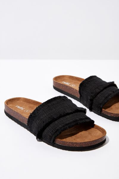 Rex Single Vamp Slide, BLACK FRINGE