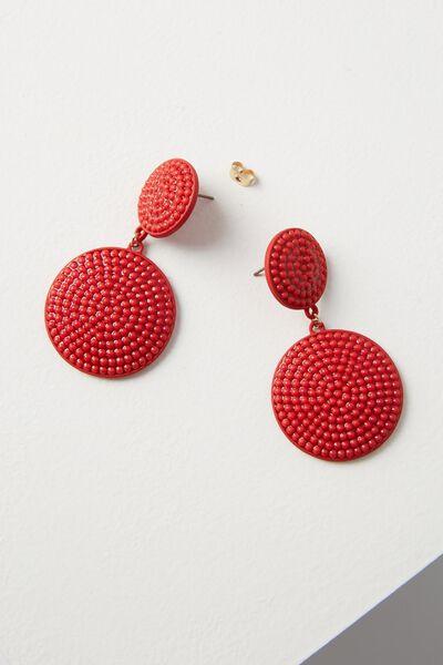 Pom Pom Statement Earring, RED