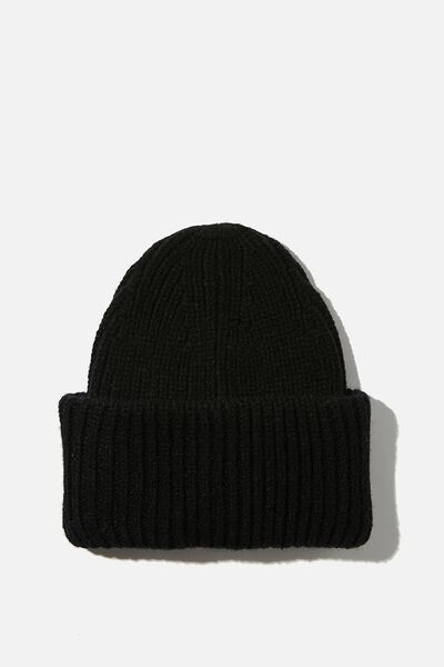 Adrianna Ribbed Beanie, BLACK