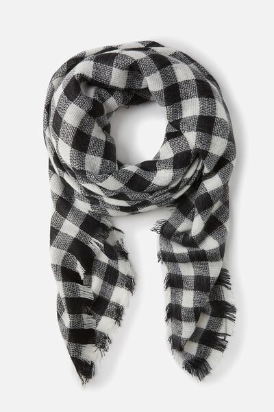 Take Me Away Scarf, GINGHAM CHECK BLACK